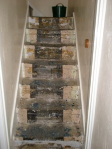 "With the carpet and the underlay removed, you can see the original stone staircase.  The edges have been painted (many times) as there would have be a narrow ""stair carpet"" that would have run up the middle."