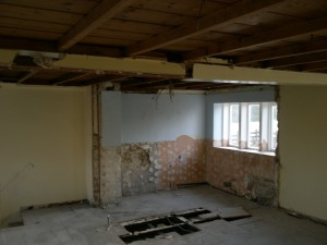 The bathroom now gone - partition removed.  Shower, toilet and basin in the skip.