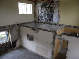You can still see the serving hatch, although the kitchen has long gone.  There were two bedrooms upstairs and a bathroom.