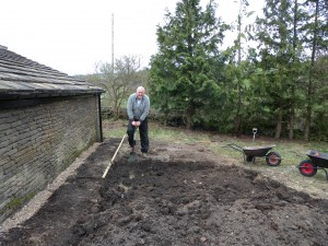 Digging over this patch of land is hard work - by hand!