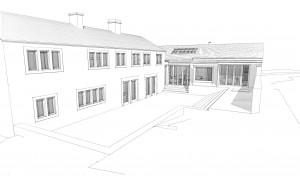 This shows the existing cottages on the left and the new extension directly in front of us.