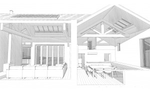 With the front of the house to camera right, this is a section through the kitchen and lounge.  The kitchen is double height with a balcony from the office space in the existing cottage.  The lounge is in the new extension and is a height and a half.