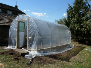 The plastic covering the polytunnel has now been trimmed around the door frames.  The plastic just needs to be tensioned and then the excess around the edges buried into a trench around the polytunnel.