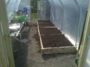 Two raised beds (8ft x 4ft) setup side by side.  It took a cubic meter of soil to fill these two raised beds.