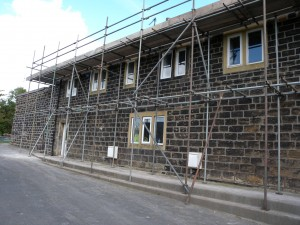 There is now scaffolding right around the property to enable the roof to be removed.