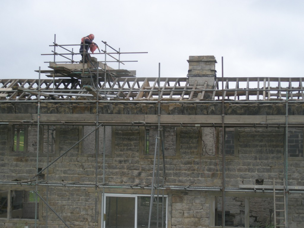 Sandblasting the second chimney was a little easier as the scaffolding was still in place around it.