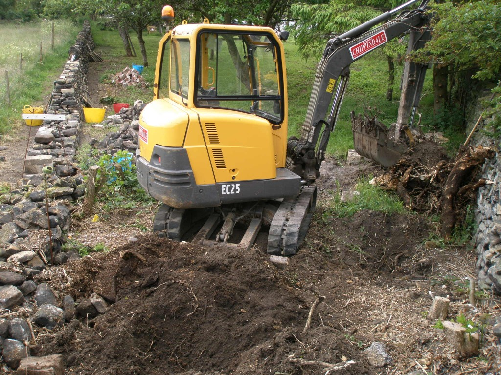 There was only just enough room to swing the bucket here, but this machine made quick work of removing the old tree stumps.
