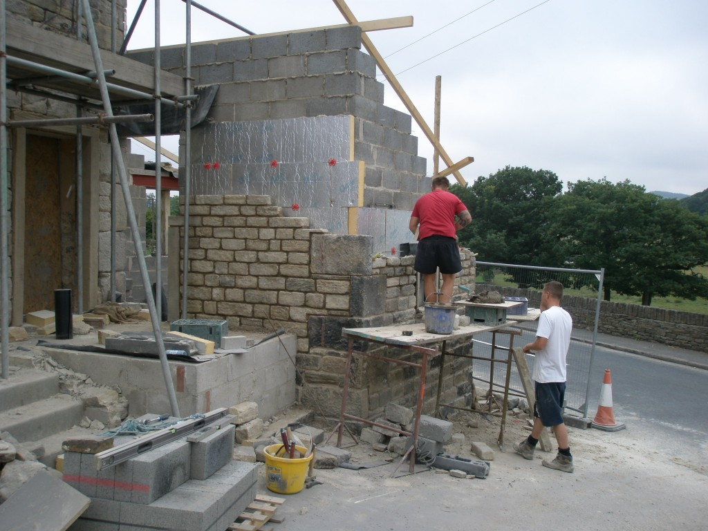 Internal block work in place together with some guide rafters