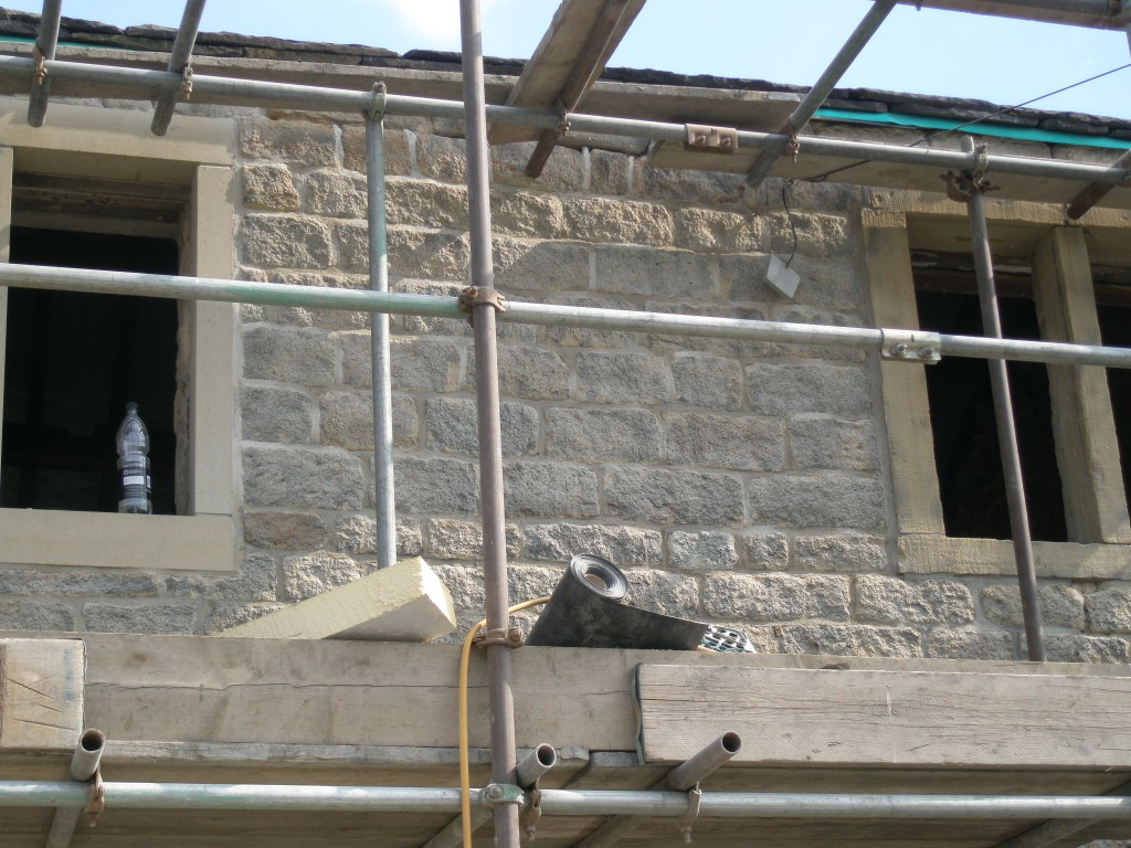 We are using a lime mortar to repoint the property.  The front of the house can be repointed in this fine weather as it is in the shade for most of the day.
