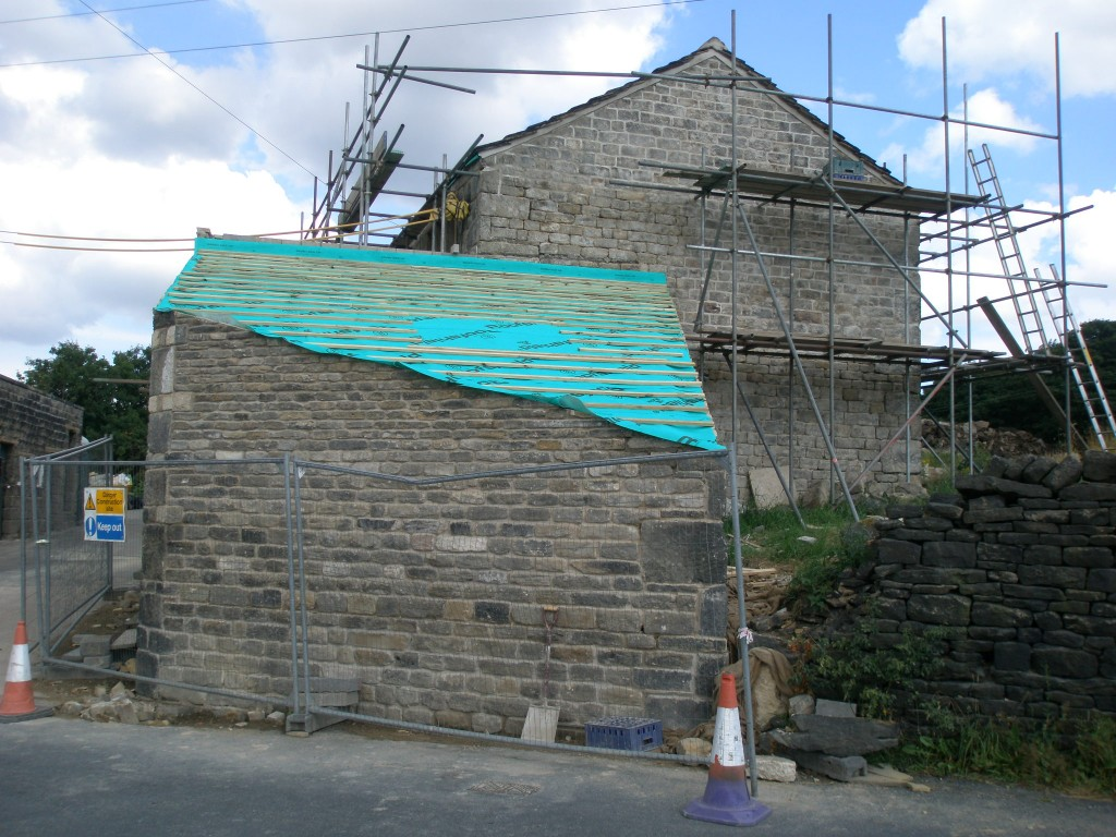 Felted and battened and ready for the stone slates to go back on tomorrow.  This should be done by the end of the week.