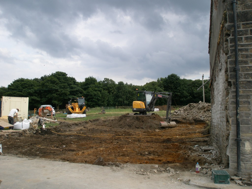Now the barn has been completely demolished we can start to see the footprint of the new extension.