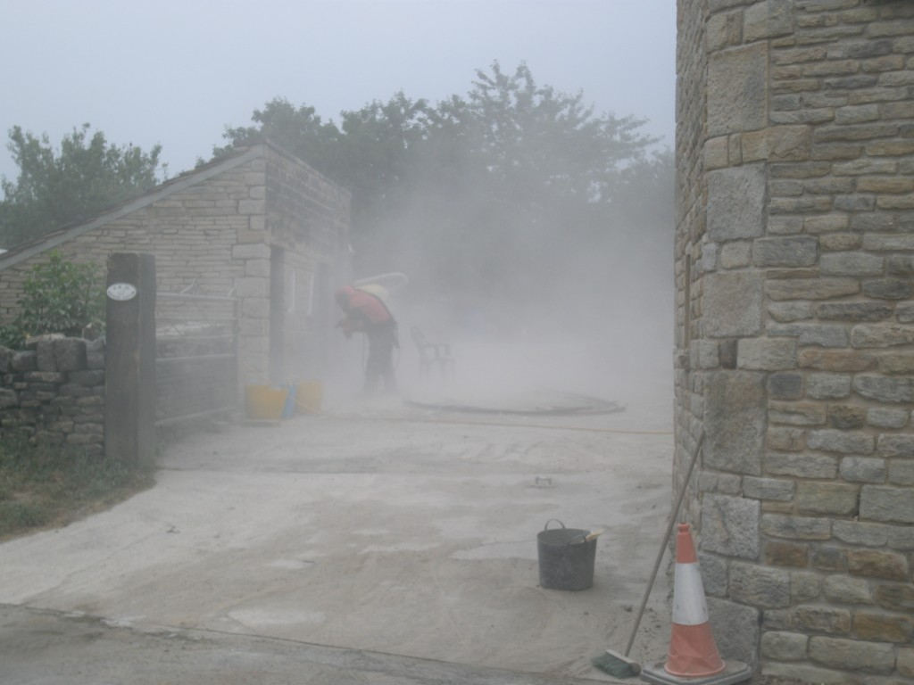 You can see the stonework on the newly rebuilt extension that has been cleaned.  We are now giving the outbuildings a clean so that they fit it with the rest of the property.