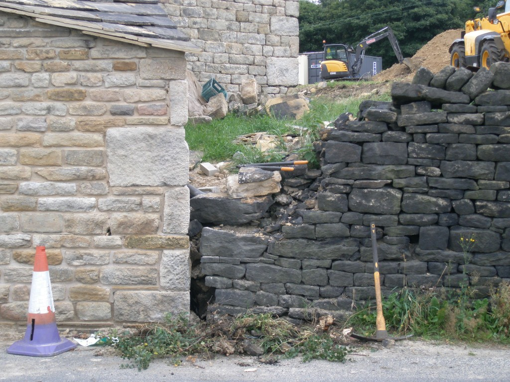 Part of the dry stone wall adjoining the rebuilt extension had to be taken down while it was being rebuilt.  Now this corner has been repointed the wall can be rebuilt. First job is to clear the weeds and the loose stone.