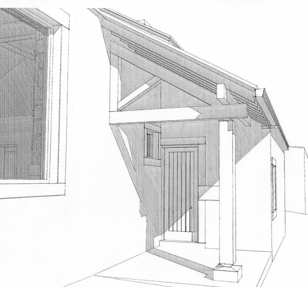 Close up of the new porch detail showing the oak half truss and supporting post.