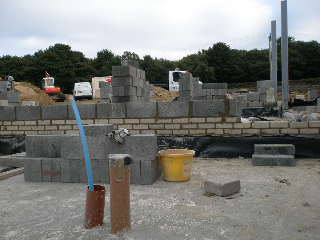 We have spent most of the day getting all of the walls in the new extension up to the same level.  This means using some bricks on some of the walls.  Once we have all the walls to the same level, it is much quicker to then build the rest of the blockwork.