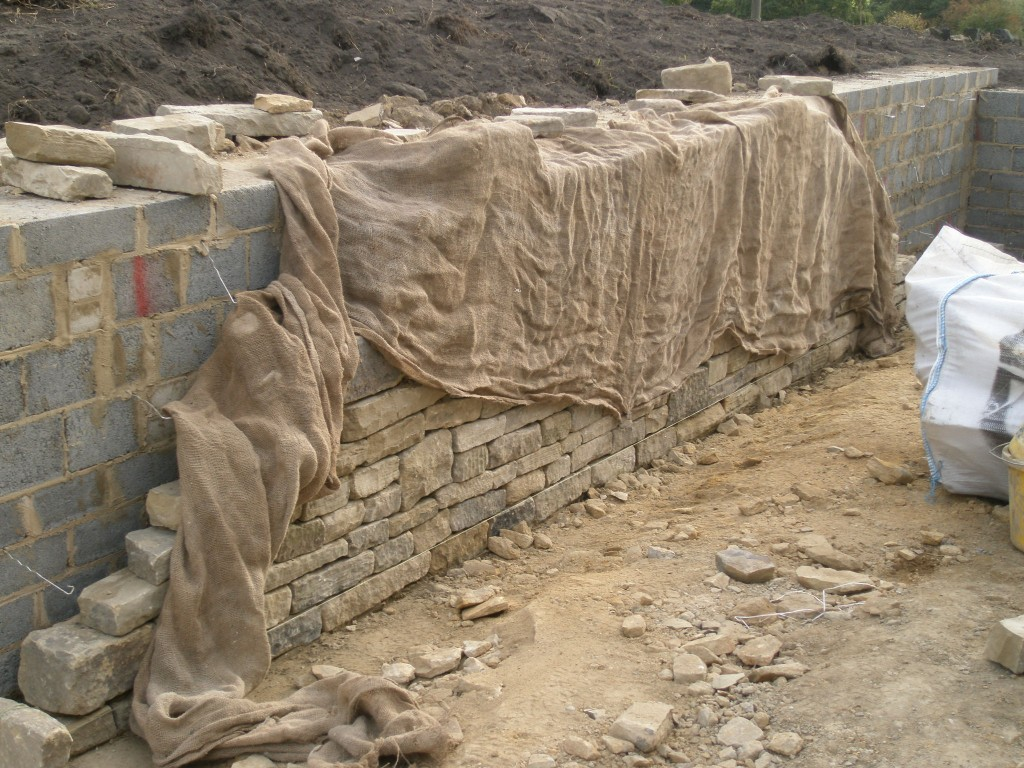 If it rains over night, the rain may wash some of the cement down the front of the stones.  This would cause marks and can be avoided by covering the newly built wall with a large piece of hessian.