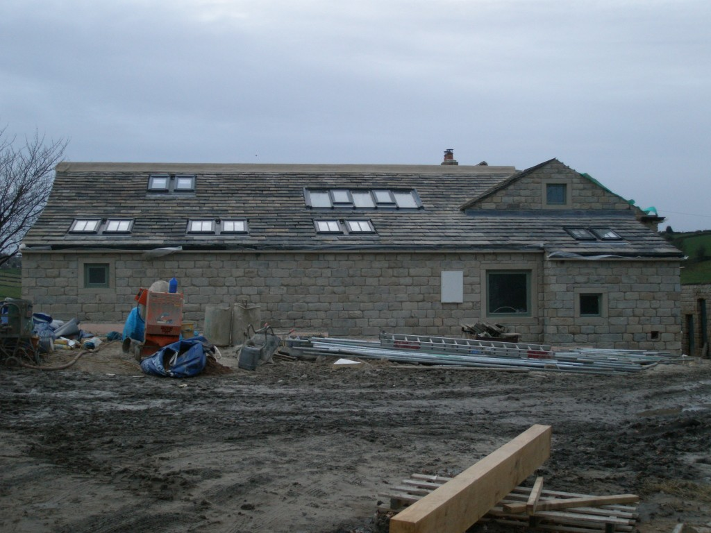 The rear of the extension has also been sandblasted.  Even the small gable end in the kitchen has been cleaned.  The white box next to the utility window houses the new (three phase) electricity meter.  I do wish they came in colours other than white!