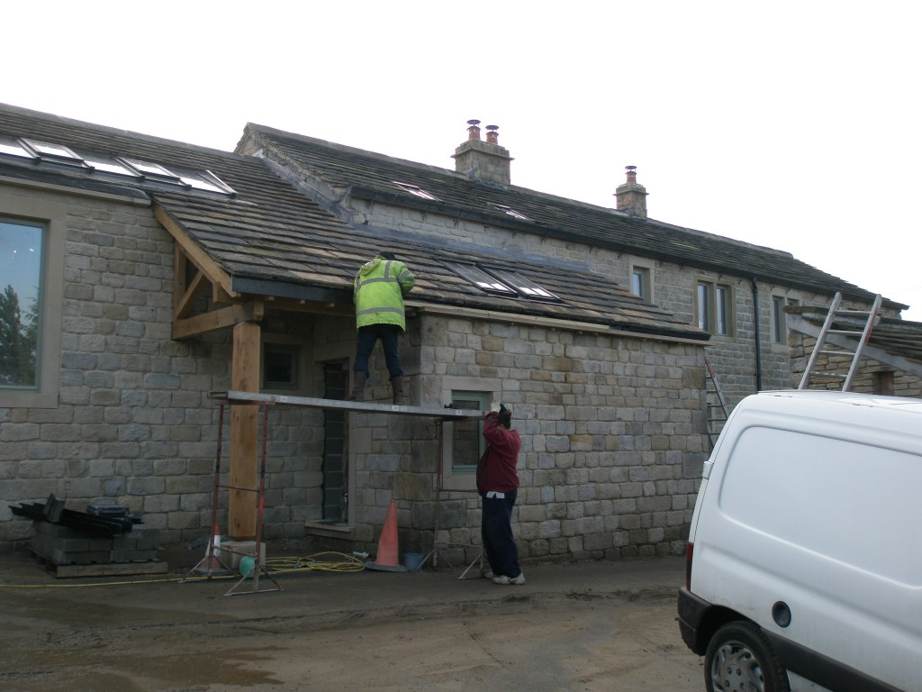 With the roof over the front of the kitchen and the porch now complete, we can put the gutters up.  The gutters on the porch match the gutters on the front of the house - 6x4 cast iron gutters (pattern 46).  The gutters come from JJ Longbottoms - the foundry in Holmfirth just a couple of miles away.