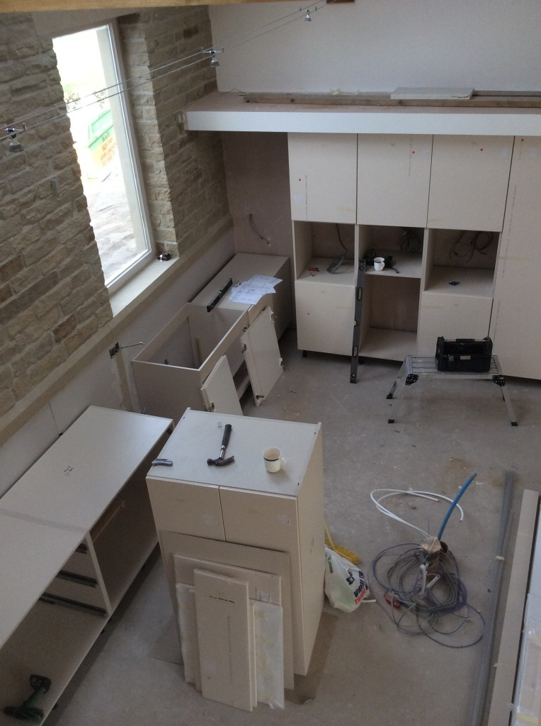 The new kitchen has started to be fitted today.  It won't be finished for a couple of weeks, but I reckon that we will have most of the base units installed this week.
