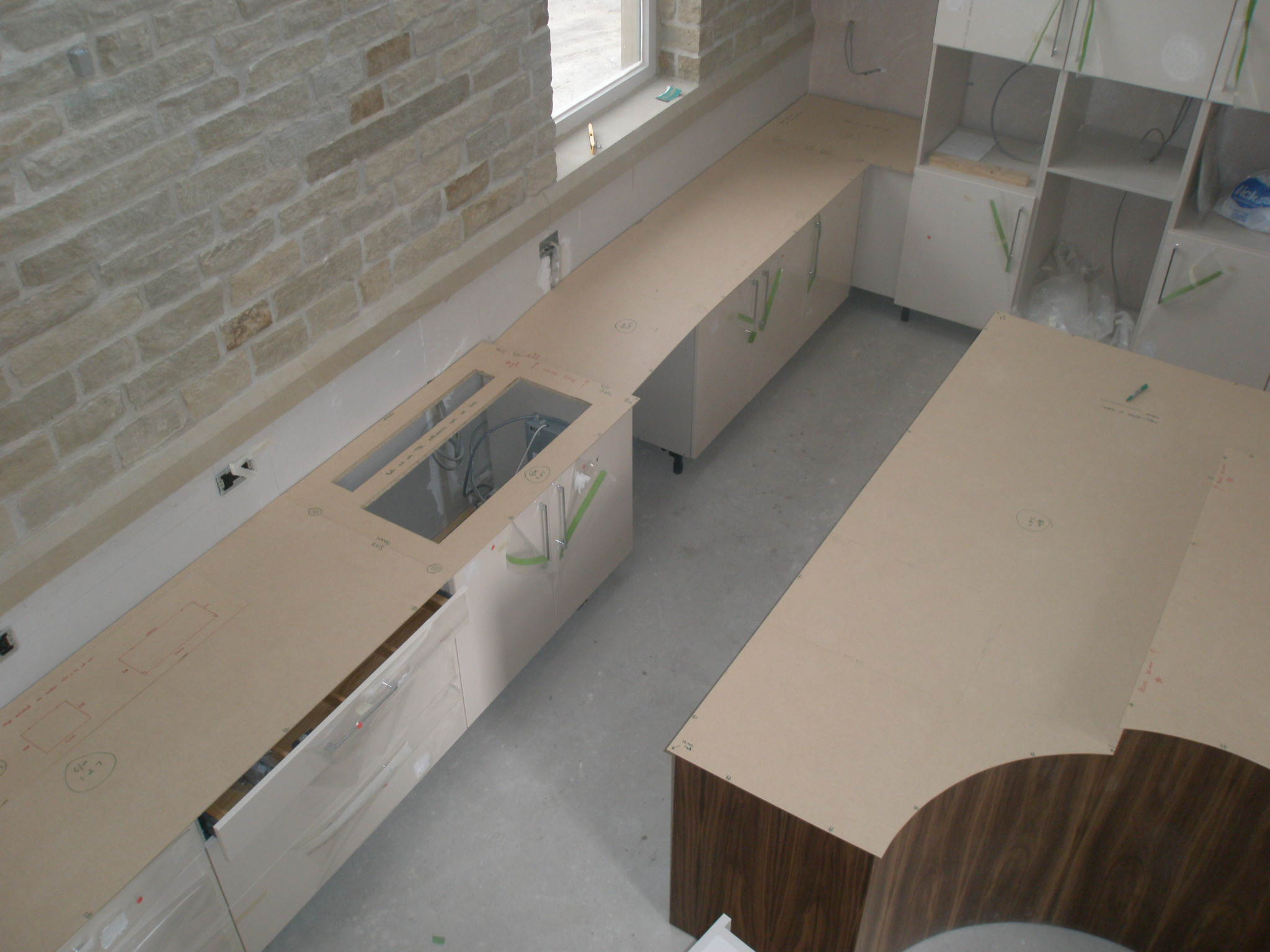 Templates cut for the worktops renovating hagg leys farm for Kitchen worktop cutting template