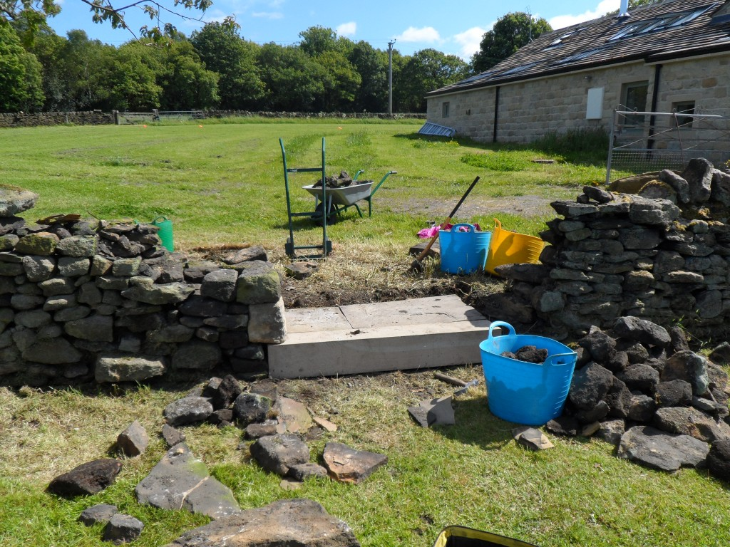 The step is level - honest.  We used a spirit level on it.  There are a couple of flagstones at the back to increase the width of the step.  You can see that we have started to build up the left handside.  We have overlapped the wall onto the step to make it all a little more robust.
