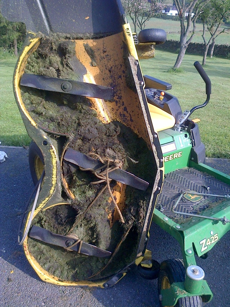 This is what happens when someone leaves an old climbing rope in the grass.  The mower definitely wasn't happy!