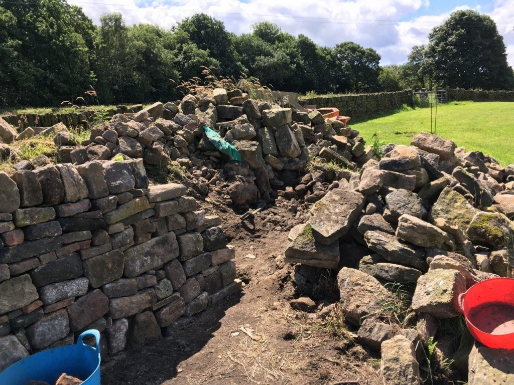 We started building a sheep pen around the pile of stones - partly to hide it and partly to use up the stone.  It soon became obvious that we had to think of something else to do with the stone.