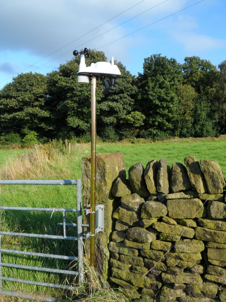 New weather station in position.  It is probably about 6ft high as we are only using one section of the TV mast.  The pole is raised off the ground so that we can strim underneath it.