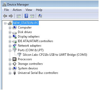 With the software installed and the weather station attached, device manager is showing that one COM port is active. In this case, it is COM3.