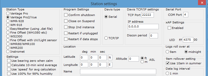 You need to select Serial in the Davis Type and then select the COM port number (in this case 4). If you don't, you will get an error -32701 from Cumulus when it tries to initialize the weather station.